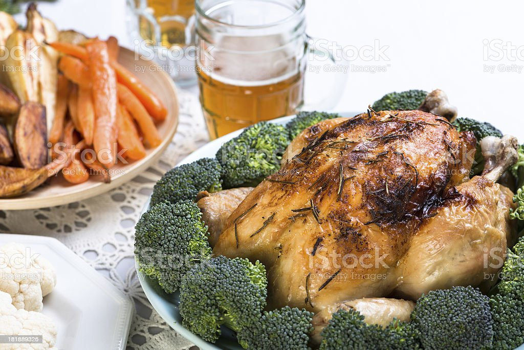 roasted chicken dinner royalty-free stock photo
