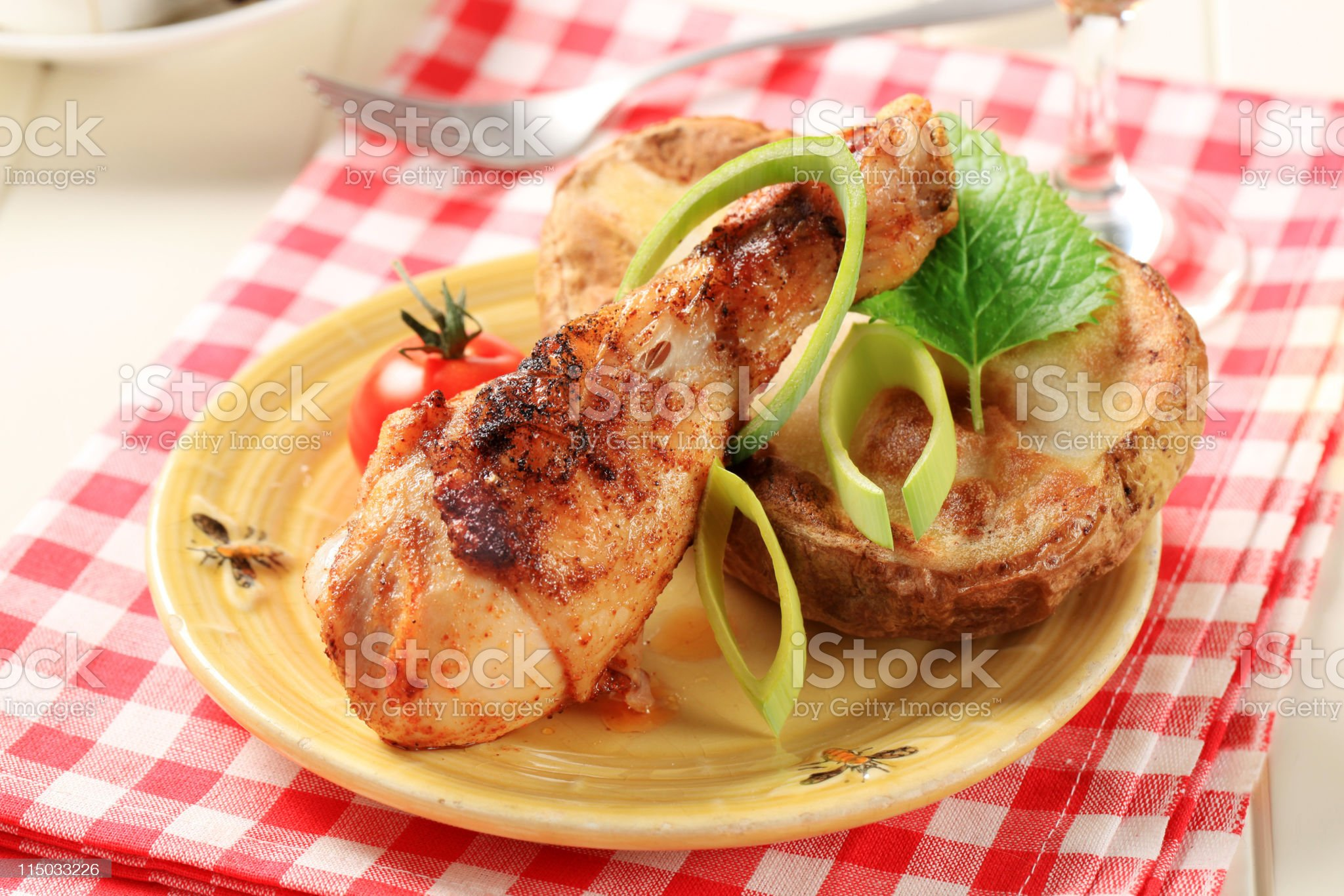 Roasted chicken drumstick royalty-free stock photo