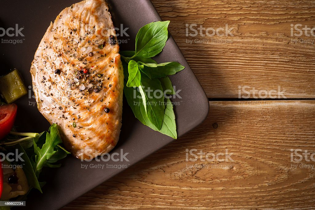 Roasted chicken fillet stock photo