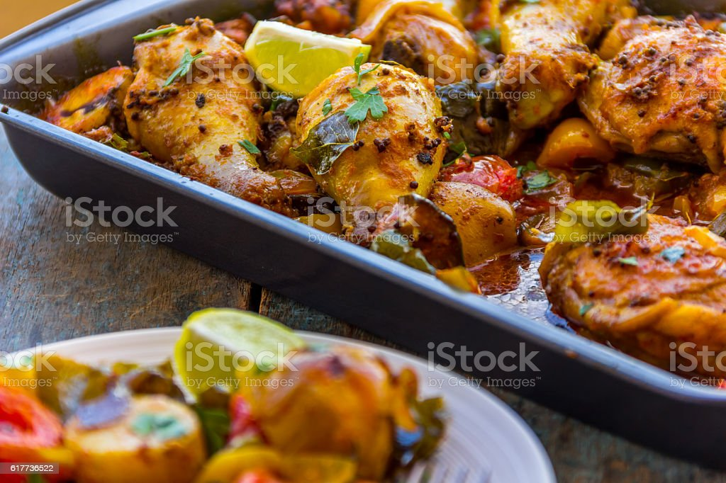 Roasted Chicken in a Tray stock photo
