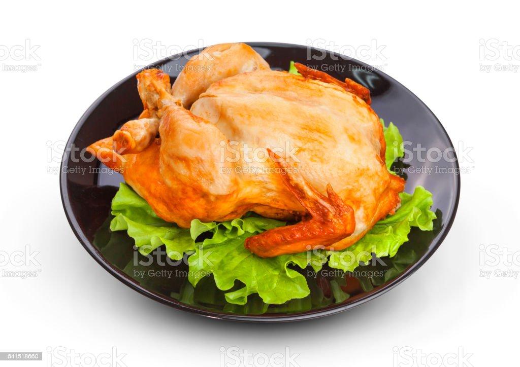 Roasted chicken isolated on white background stock photo