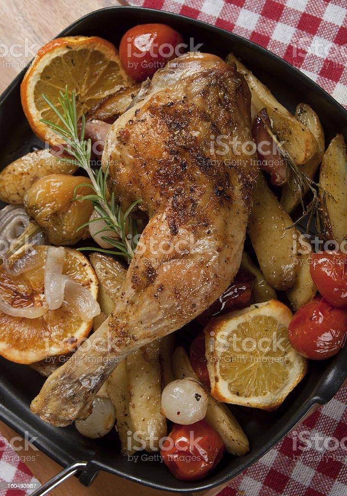 Roasted chicken leg royalty-free stock photo