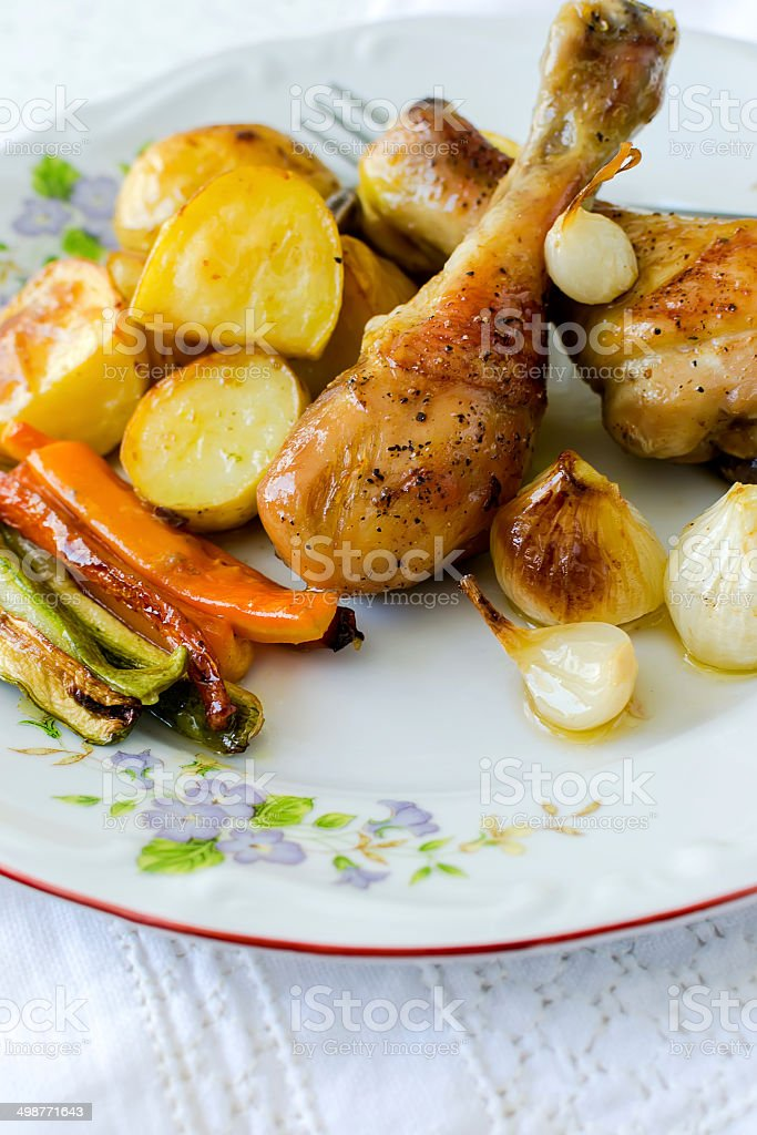 Roasted chicken legs royalty-free stock photo