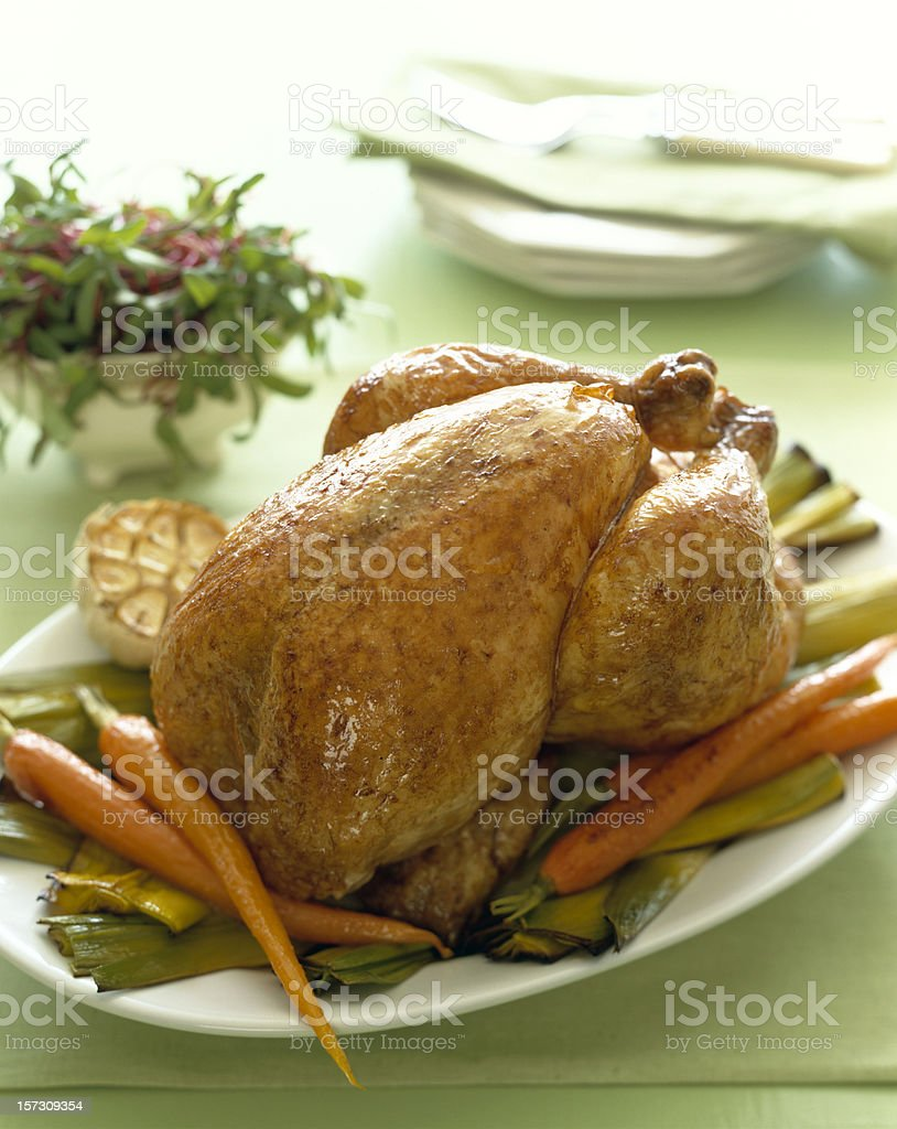 Roasted Chicken on platter royalty-free stock photo