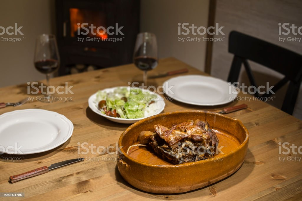 roasted chicken on wooden table stock photo