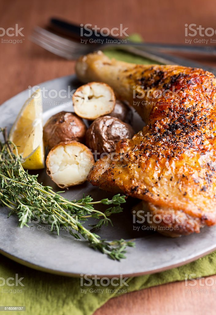 Roasted Chicken Quarter stock photo