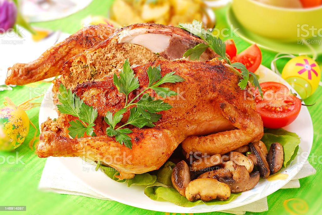roasted chicken stuffed with liver royalty-free stock photo