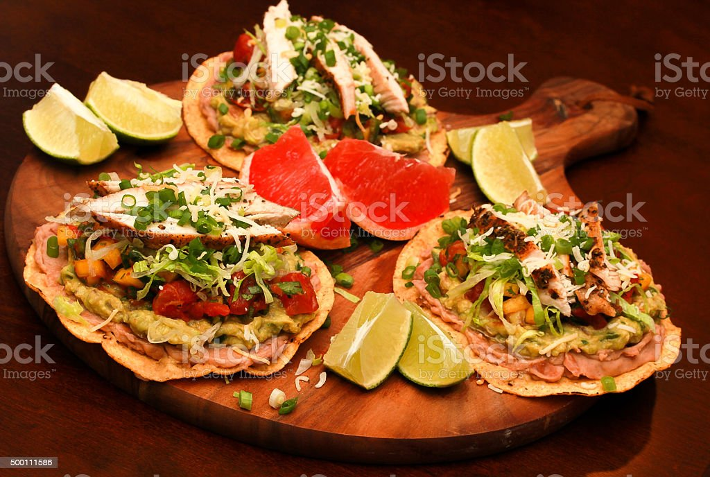 Roasted Chicken Tostada stock photo