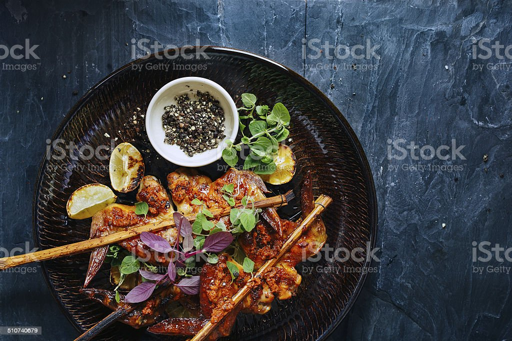Roasted chicken wings stock photo