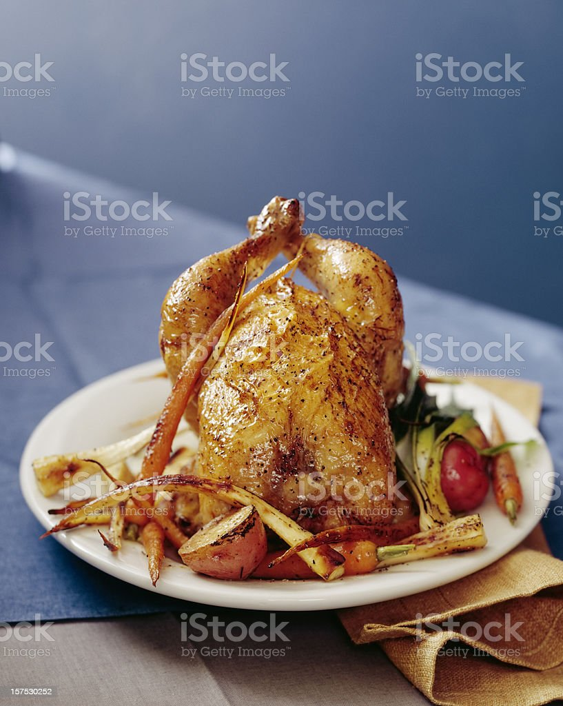 Roasted chicken with carrots, parsnips and potatoes. stock photo