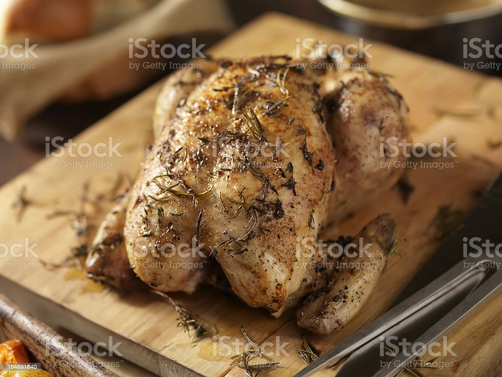 Roasted Chicken with Fresh Thyme stock photo