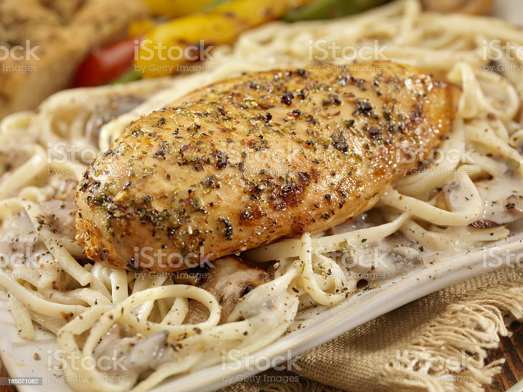 Roasted Chicken with Musroom Linguine royalty-free stock photo