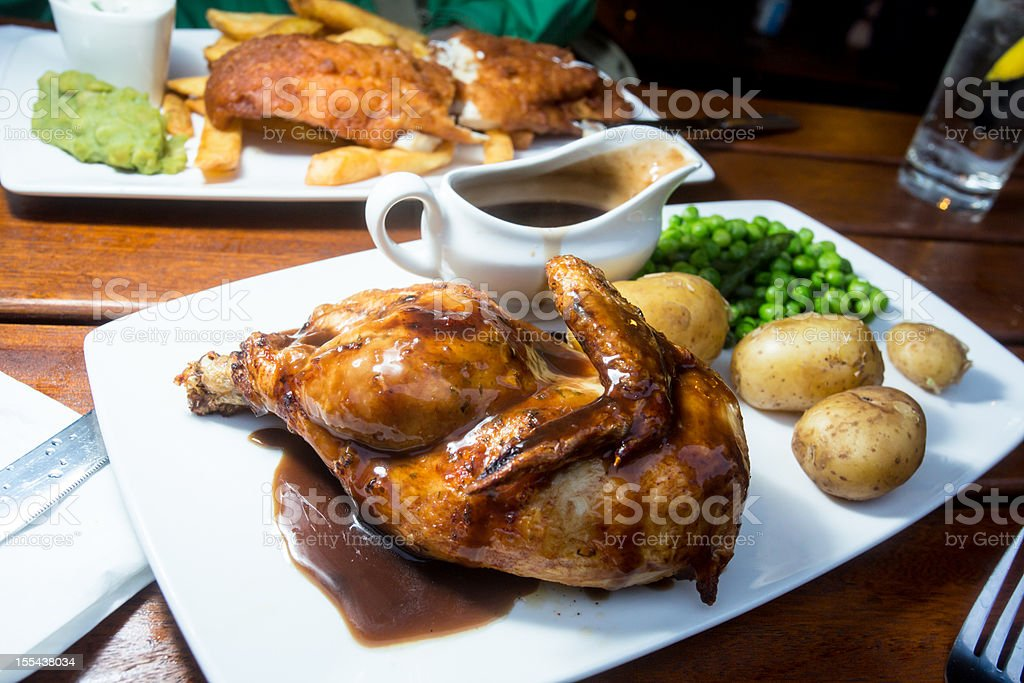 Roasted Chicken with Potatoes and Gravy royalty-free stock photo