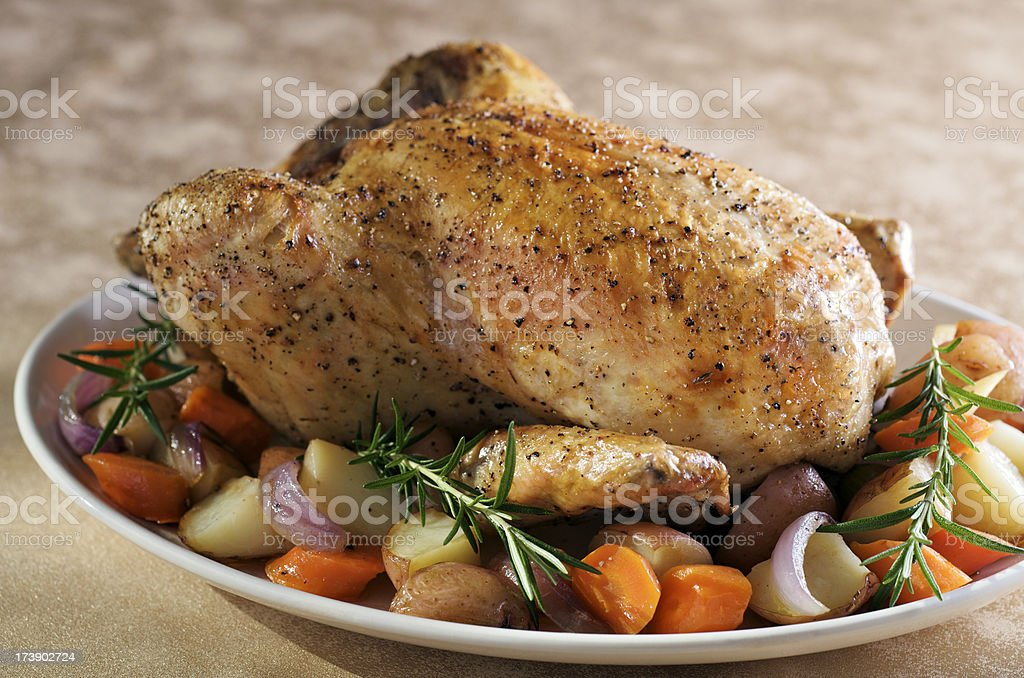 Roasted Chicken with Vegetables and Rosemary stock photo