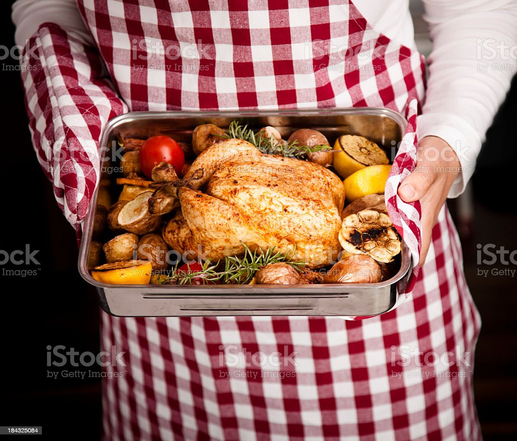 Roasted Chicken with Vegetables in Roasting Tin royalty-free stock photo