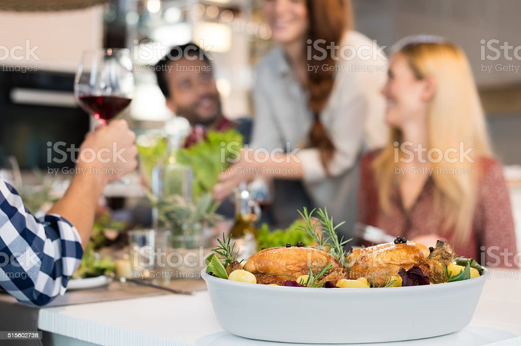 Roasted chickens for lunch stock photo
