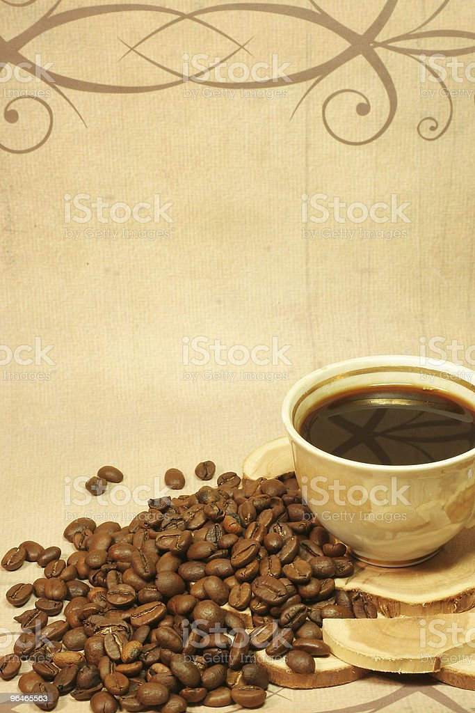 roasted coffee and cup stock photo
