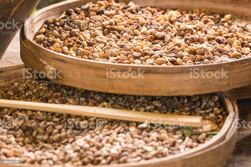 Roasted coffee bean stock photo