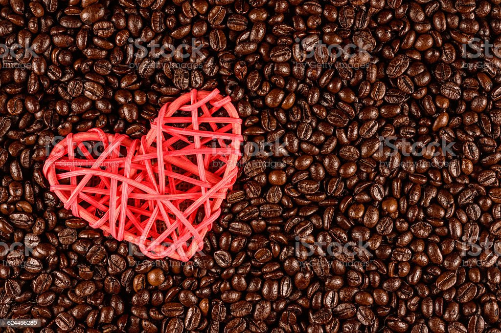 Roasted coffee bean with heart icon royalty-free stock photo