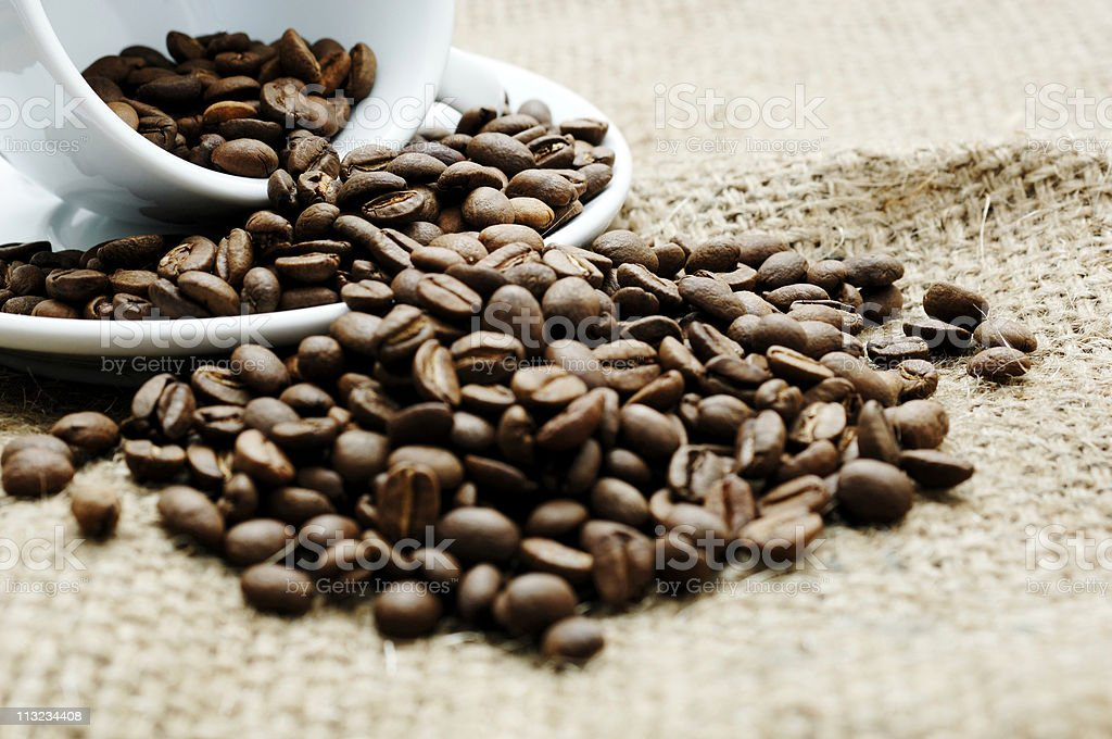 Roasted coffee beans and cup against a Hessian cloth sack stock photo