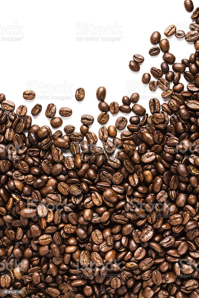 Roasted Coffee Beans  background or texture with white copy spac royalty-free stock photo