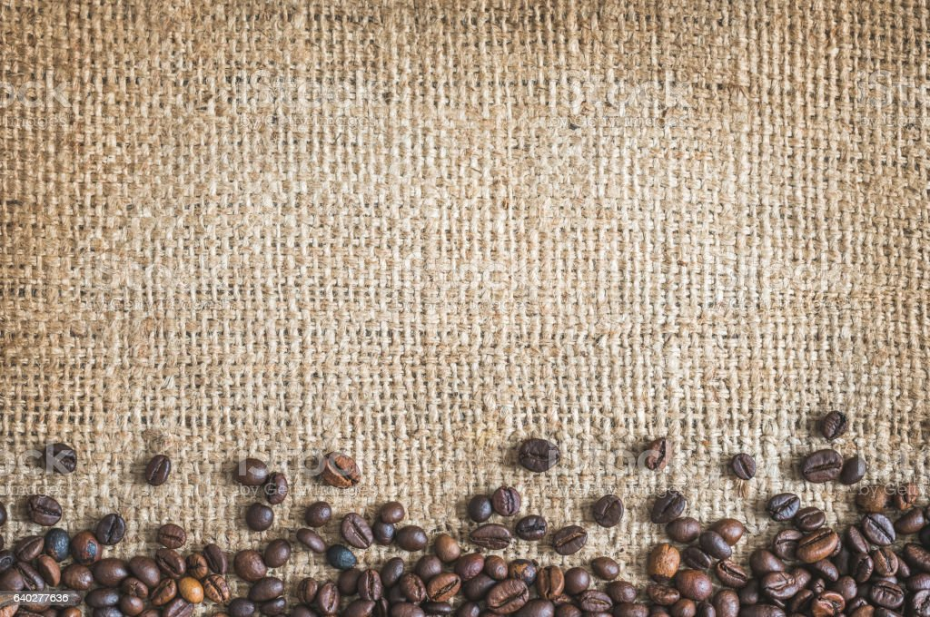 Roasted Coffee Beans Burlap Canvas Background stock photo