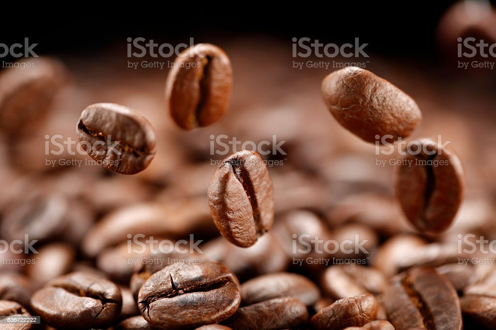 Roasted coffee beans falling stock photo
