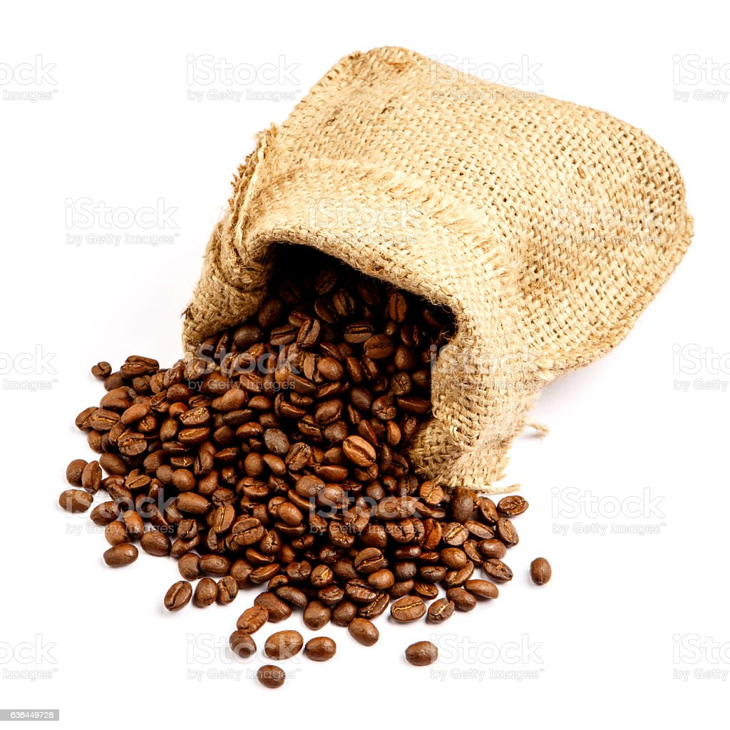 roasted coffee beans in bag isolated on white background stock photo