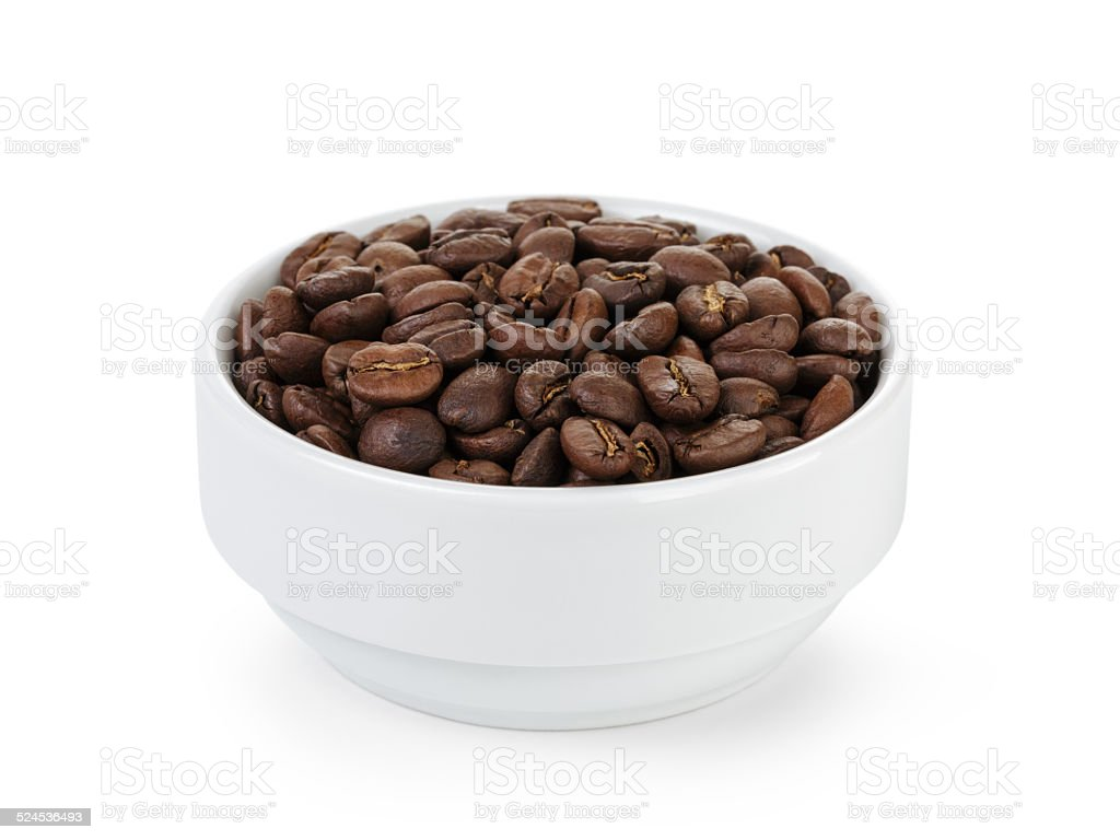 roasted coffee beans in bowl stock photo