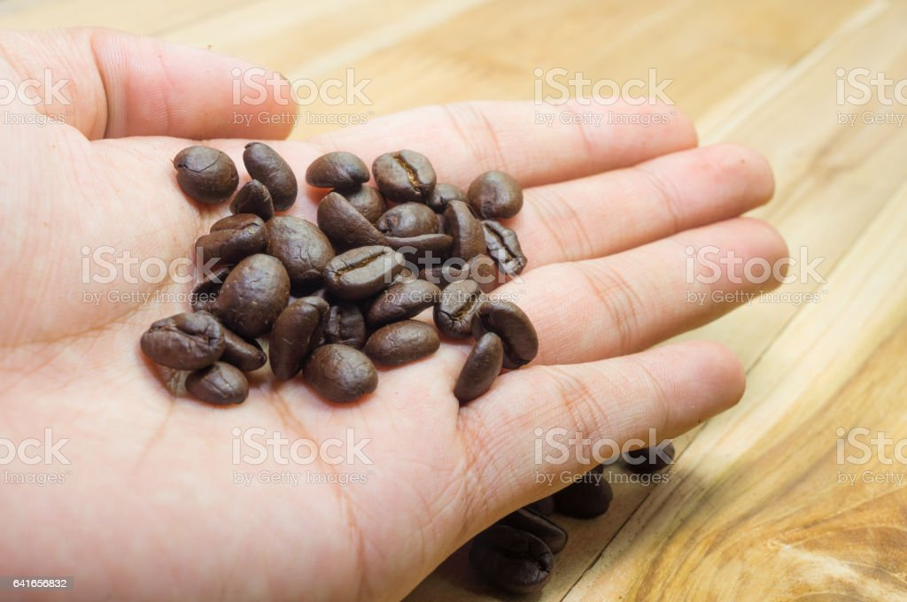 roasted coffee beans  in male hand on grunge wooden background stock photo