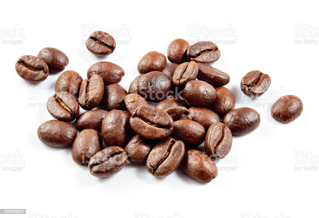 Roasted coffee beans isolated on white background. stock photo