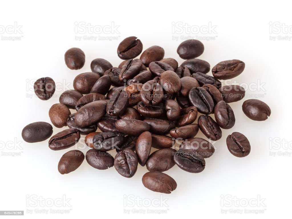 Roasted coffee beans isolated on white background stock photo