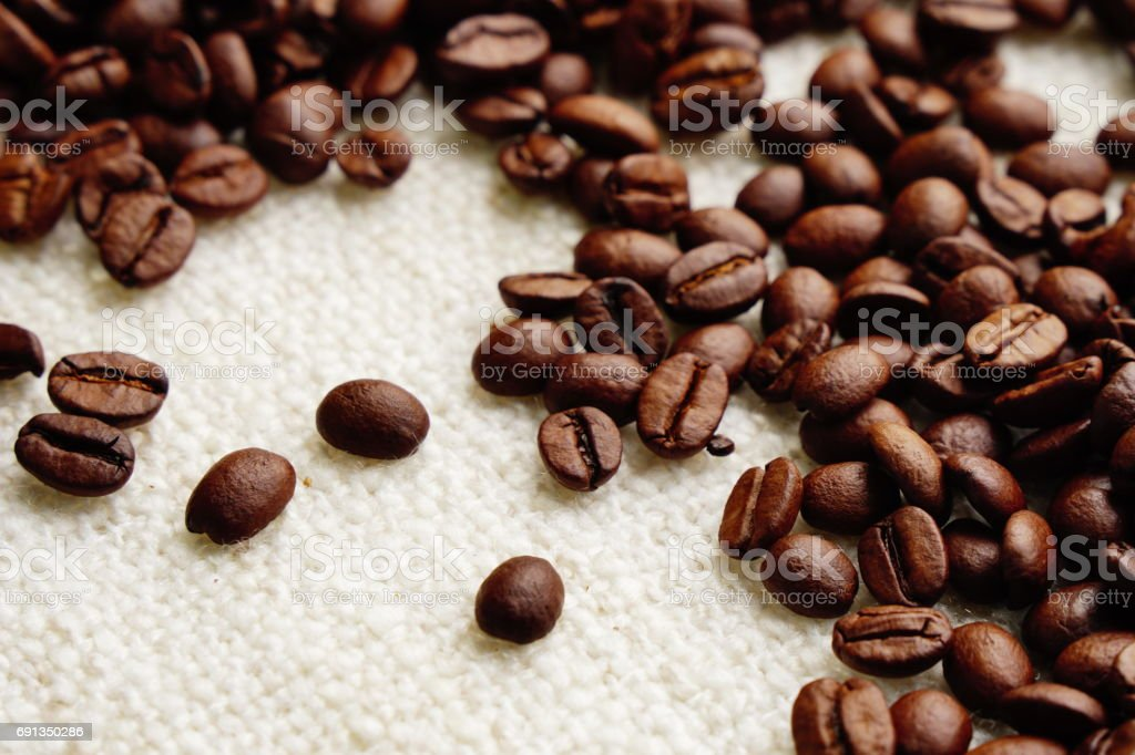 roasted coffee beans with space area , can be used as background stock photo