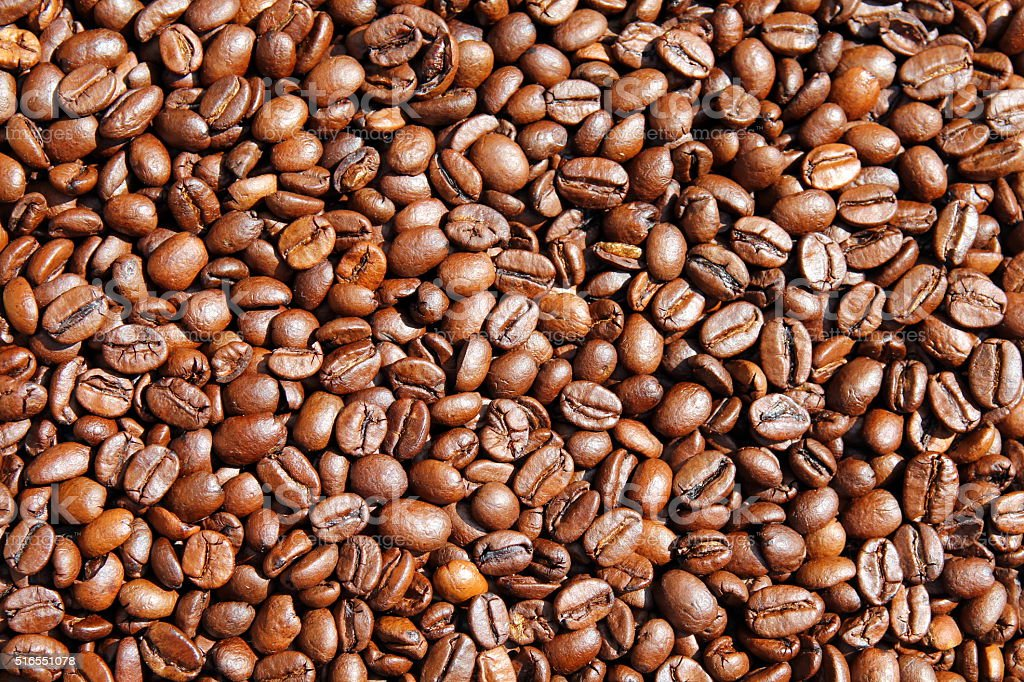 Roasted coffee seeds stock photo