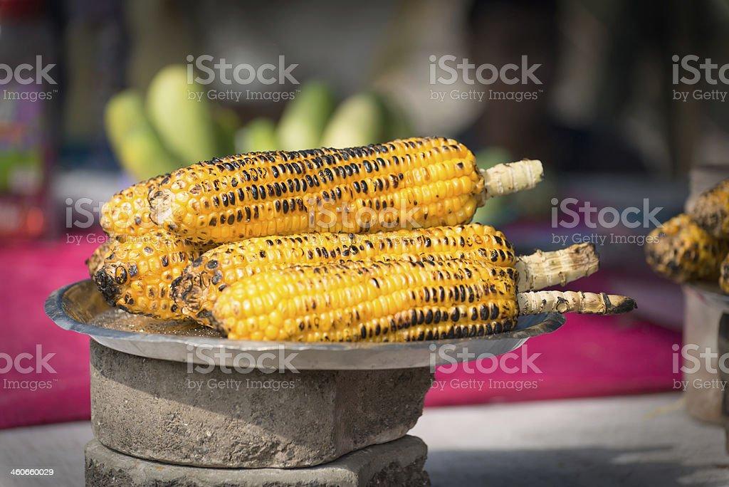 Roasted Corn on the Cob - Street Food,  Mumbai,  India royalty-free stock photo