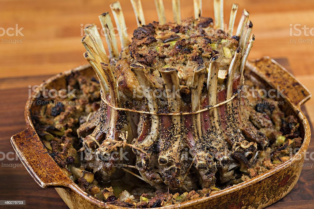 Roasted Crown Of Lamb Stuffed stock photo