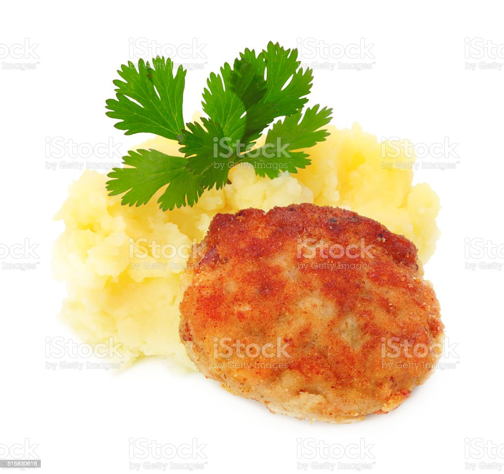 roasted cutlets of pork with potato stock photo
