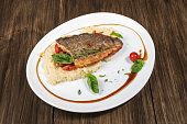 Roasted dorado fish with couscous