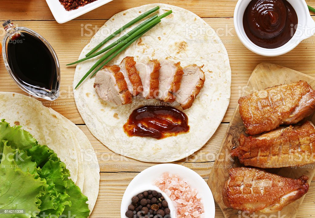 roasted duck breast served with in the Chinese style stock photo