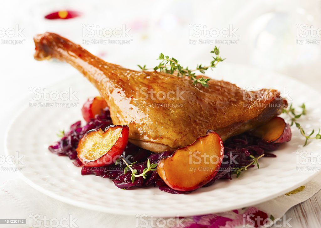 Roasted duck leg stock photo
