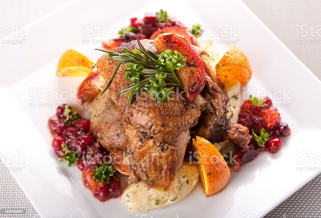 roasted duck with cranberry sauce royalty-free stock photo