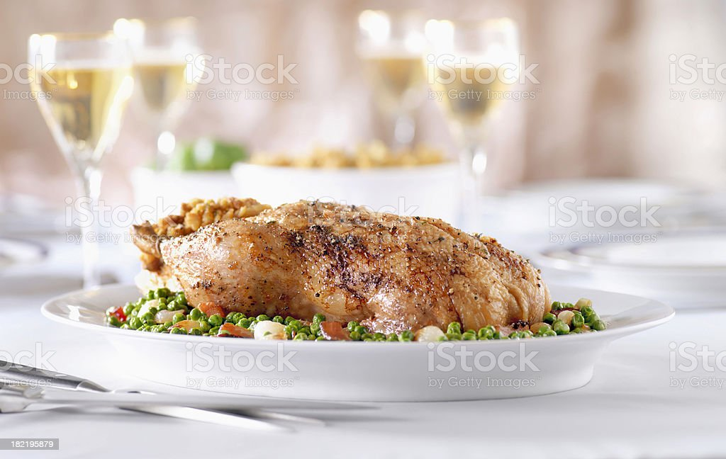 Roasted Duck with Peas and White Wine royalty-free stock photo
