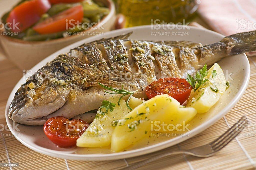 Roasted fish stock photo