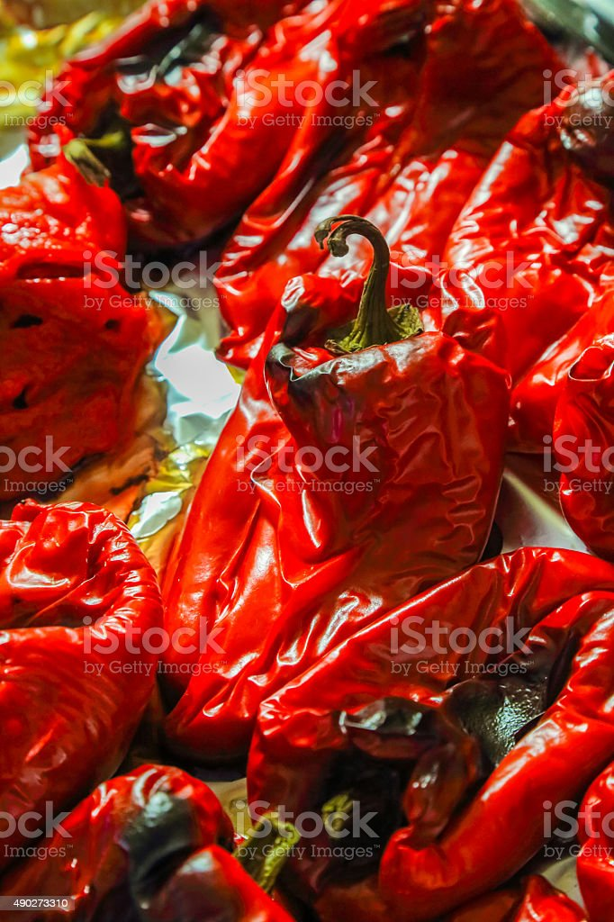 Roasted fresh red bell peppers stock photo