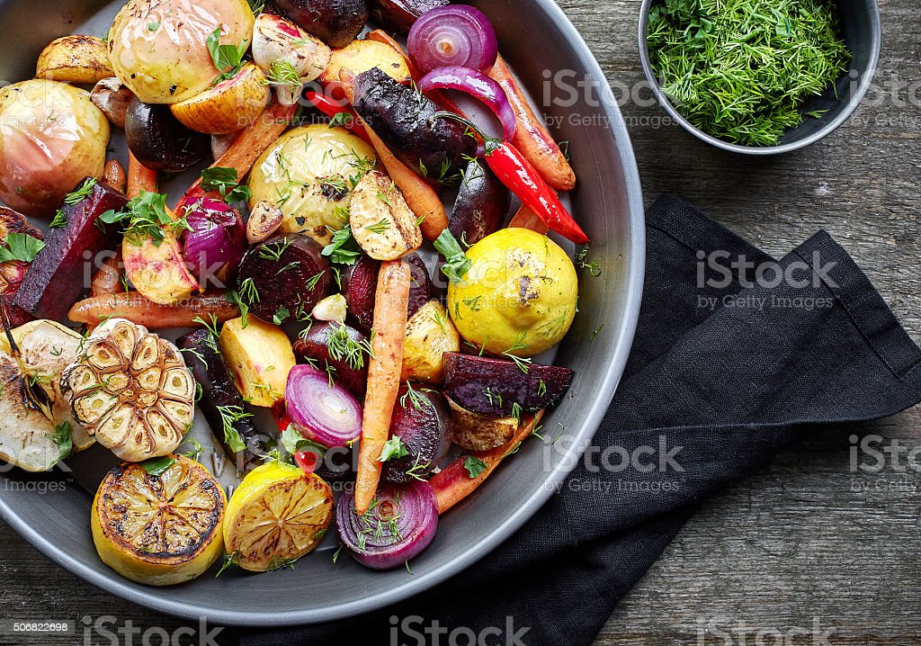 Roasted fruits and vegetables stock photo