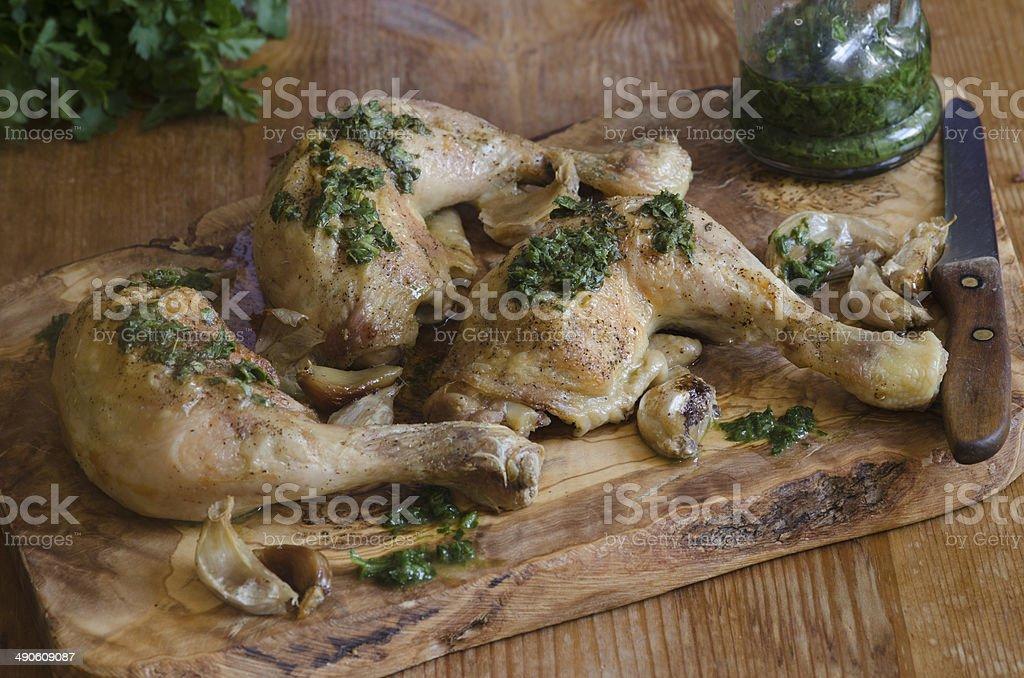 Roasted garlic chicken stock photo