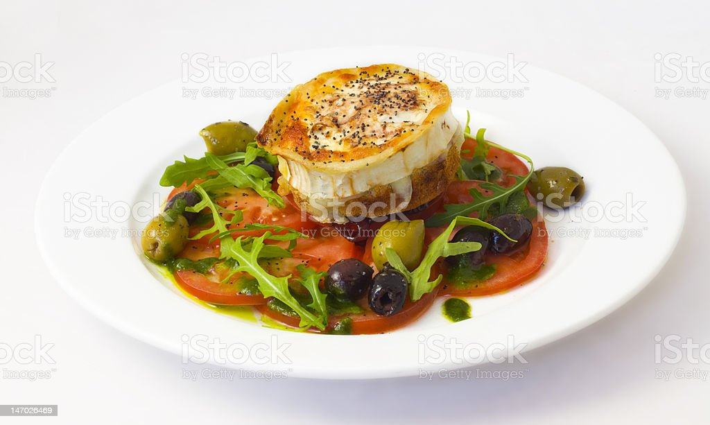 Roasted goats cheese salad royalty-free stock photo