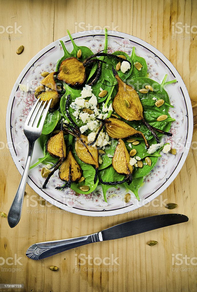 Roasted golden beets salad royalty-free stock photo
