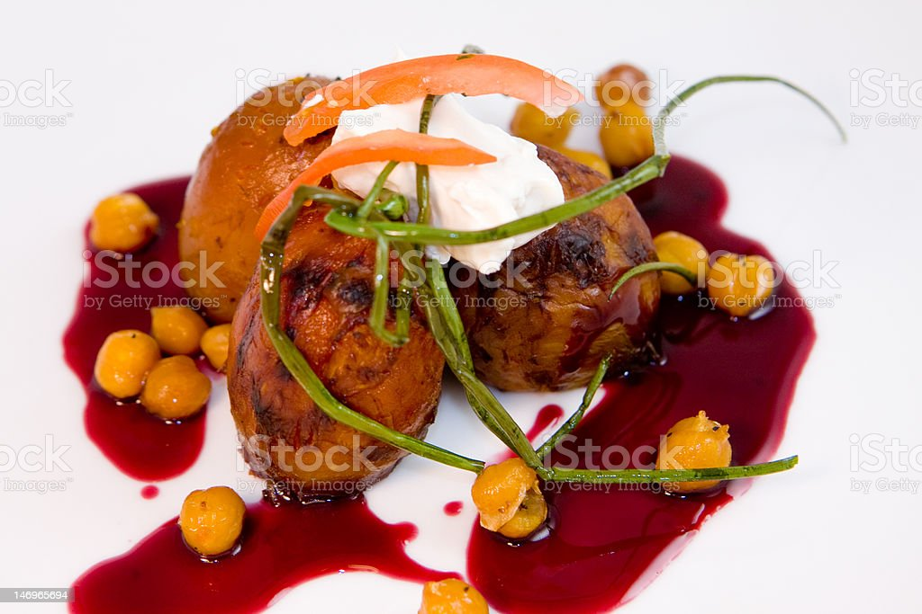 Roasted Golden Beets with Garbanzo beans royalty-free stock photo