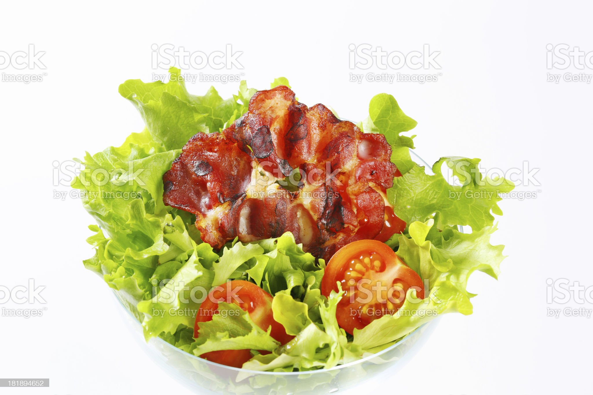 roasted ham slice in a vegetable salad royalty-free stock photo